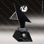 Glass Black Accented Star Pirouette Trophy Award Stone Accented Glass Awards