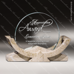 Glass Gold Accented Circle Converging Angles Trophy Award Stone Accented Glass Awards