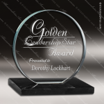Glass Black Accented Circle Crius Trophy Award Stone Accented Glass Awards