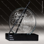 Glass Black Accented Round Globe Trajectory Trophy Award Stone Accented Glass Awards