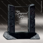 Glass Black Accented Rectangle Poros Trophy Award Stone Accented Glass Awards