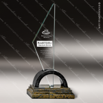 Glass Gold Accented Triangle Caelum Trophy Award Stone Accented Glass Awards