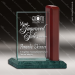 Glass Wood Accented Rectangle Falrook Trophy Award Stone Accented Glass Awards