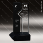 Glass Black Accented Rectangle Forging Ahead Trophy Award Stone Accented Glass Awards