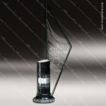 Glass Black Accented Triangle Spinnaker Trophy Award Stone Accented Glass Awards