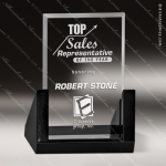 Glass Black Accented Rectangle Slant Trophy Award Stone Accented Glass Awards