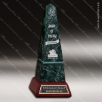 Stone Green Marble Accented Obelisk Cherry Base Trophy Award Stone Awards