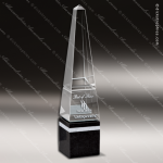 Crystal Black Accented Optica Obelisk Trophy Award Stone Awards