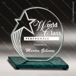 Sculpted Star Green Marble Accented Jade Glass Circle Trophy Award Stone Awards