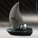 Stone Black Marble Accented Seas the Day Sailboat Trophy Award Stone Awards