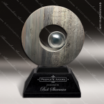 Stone Black Marble Accented Circle Slate Ace Trophy Award Stone Awards