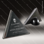 Stone Black Marble Accented Slated Triangle Trophy Award Stone Awards