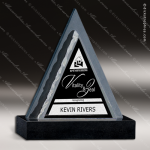 Stone Black Marble Accented Triangle Pivotal Point Trophy Award Stone Marble Accented Trophy Awards