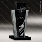 Stone Black Marble Accented Rectangle Resurgence Trophy Award Stone Marble Accented Trophy Awards