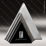 Stone Black Marble Accented Triangle Quad Tri Trophy Award Stone Marble Accented Trophy Awards