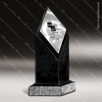 Stone Black Marble Accented Diamond in the Rough Trophy Award Stone Marble Accented Trophy Awards