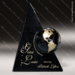 Stone Black Marble Accented Globe Triangle World Leader Trophy Award Stone Marble Accented Trophy Awards
