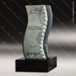 Stone Black Marble Accented Slated Wave Trophy Award Stone Marble Accented Trophy Awards