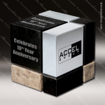 Stone Black Marble Accented Square Shaped The Cube Trophy Award Stone Marble Accented Trophy Awards