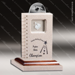Stone Wood Accented Rectangle The Book Study Trophy Award Stone Marble Accented Trophy Awards