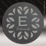 Engraved Black Slate Round Decor with Foam Pads Gift Award Stone Marble Finish Plaques