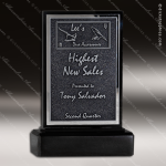 Stone Black Accented Rectangle Continuum Trophy Award Stone Marble Finish Plaques
