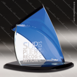 Crystal Blue Accented Modern Sail Trophy Award Summit Shaped Crystal Awards