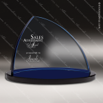 Crystal Blue Accented Summit Peak Curve Trophy Award Summit Shaped Crystal Awards