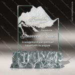Glass Jade Accented Summit Everest Trophy Award Summit Shaped Glass Awards
