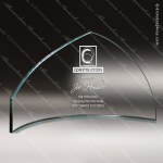 Glass Jade Accented Summit Slumped Pennant Trophy Award Summit Shaped Glass Awards
