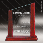 Macareno Peak Glass Rosewood Accented Slanted Top Trophy Award Summit Shaped Glass Awards
