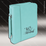 Embossed Etched Leather Bible/Book Cover -Teal Teal Blue Leather Items