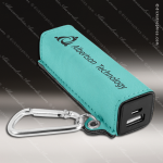 Embossed Etched Leather 2200mAh Power Bank -Teal Teal Blue Leather Items
