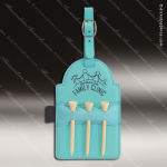 Embossed Etched Leather Golf Bag Tag with Wooden Tees -Teal Teal Blue Leather Items