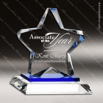 Crystal Blue Accented Twinkle Star Trophy Award Topmost Prism Crystal Trophy Awards