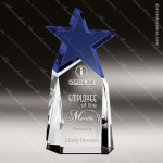 Crystal Blue Accented Triumphant Star Trophy Award Topmost Prism Crystal Trophy Awards