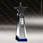 Crystal Blue Accented Star Goddess Trophy Award Topmost Prism Crystal Trophy Awards