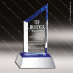 Crystal Blue Accented Summit Sail Aluminium Base Trophy Award Topmost Prism Crystal Trophy Awards