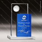 Crystal Blue Accented Rectangle Perception Trophy Award Topmost Prism Crystal Trophy Awards