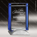 Crystal Blue Accented Rectangle Deco Trophy Award Topmost Prism Crystal Trophy Awards