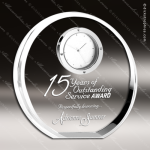 Crystal Clock Beveled Circle Trophy Award Topmost Prism Crystal Trophy Awards