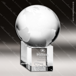Crystal  Clear World Globe Spinning Trophy Award Topmost Prism Crystal Trophy Awards