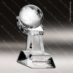 Crystal  Clear World Globe in Hand Trophy Award Topmost Prism Crystal Trophy Awards