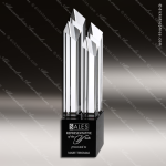 Crystal Black Accented Allegiance Tower Trophy Award Topmost Prism Crystal Trophy Awards