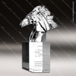 Crystal  Clear Sculpted Queen Elizabeth Horse Head Trophy Award Topmost Prism Crystal Trophy Awards