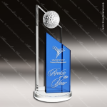 Crystal Sport Blue Accented Summit Success Golf Trophy Award Topmost Prism Crystal Trophy Awards
