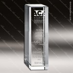 Crystal  Clear Rectangular Cubed Column Trophy Award Topmost Prism Crystal Trophy Awards