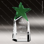 Crystal Green Accented Triumphant Star Trophy Award Topmost Prism Crystal Trophy Awards