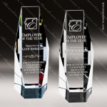 Crystal Color Accented Octagon Clear Or Color Trophy Award Topmost Prism Crystal Trophy Awards