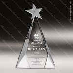 Crystal Silver Accented Metal Star Triangle Trophy Award Topmost Prism Crystal Trophy Awards